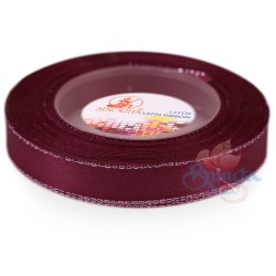 12mm Senorita Silver Edge Satin Ribbon - Maroon 028s