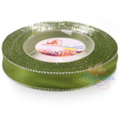 12mm Senorita Silver Edge Satin Ribbon - Olive Green 208s