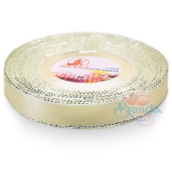 12mm Senorita Silver Edge Satin Ribbon - Pearl 224s