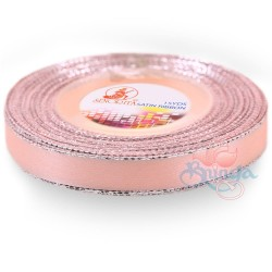 12mm Senorita Silver Edge Satin Ribbon - Light Salmon 229s