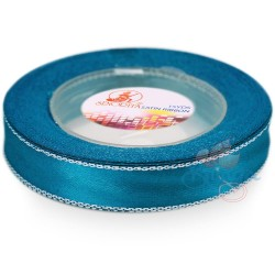 12mm Senorita Silver Edge Satin Ribbon - Dress Blue 24s