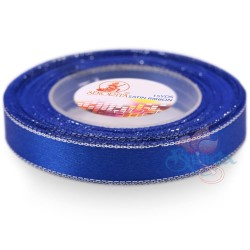 12mm Senorita Silver Edge Satin Ribbon - Electric Blue 25s