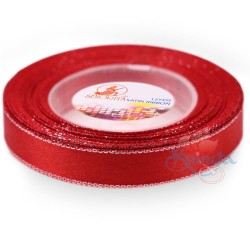 12mm Senorita Silver Edge Satin Ribbon - Red 28s