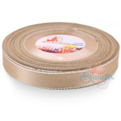 12mm Senorita Silver Edge Satin Ribbon - Light Tortilla 52s