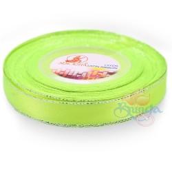 12mm Senorita Silver Edge Satin Ribbon - Grass Green 535s
