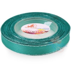 12mm Senorita Silver Edge Satin Ribbon - Tiffany Blue 548s