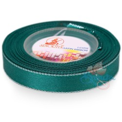 12mm Senorita Silver Edge Satin Ribbon - Teal 549s