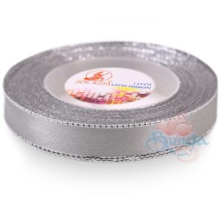 12mm Senorita Silver Edge Satin Ribbon - Light Grey 77s