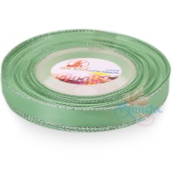 12mm Senorita Silver Edge Satin Ribbon - Light Aqua 801s