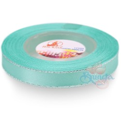12mm Senorita Silver Edge Satin Ribbon - Light Turquoise 802s