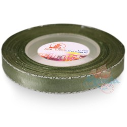 12mm Senorita Silver Edge Satin Ribbon - Sea Green 803s