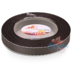 12mm Senorita Silver Edge Satin Ribbon - Metal Grey 805s