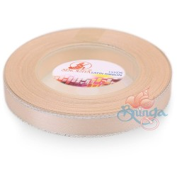 12mm Senorita Silver Edge Satin Ribbon - Pink Beige 806s