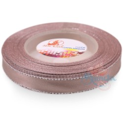 12mm Senorita Silver Edge Satin Ribbon - Pinky Brown 808s
