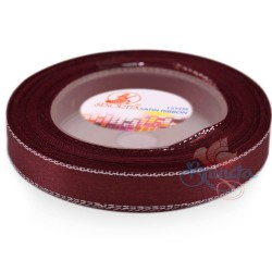 12mm Senorita Silver Edge Satin Ribbon - Merlot 809s