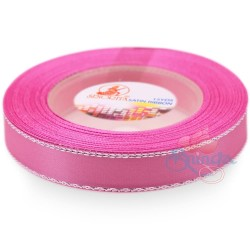 12mm Senorita Silver Edge Satin Ribbon - Carnation Pink 812s
