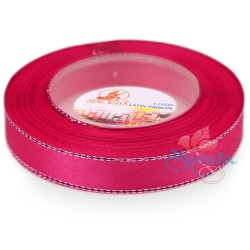 12mm Senorita Silver Edge Satin Ribbon - Camelia Rose 813s