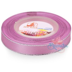 12mm Senorita Silver Edge Satin Ribbon - Vintage Pink 814s