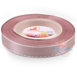 12mm Senorita Silver Edge Satin Ribbon - Rosy Brown 815s
