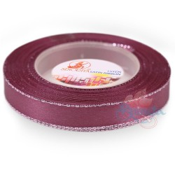 12mm Senorita Silver Edge Satin Ribbon - Old Purple 816s