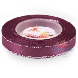12mm Senorita Silver Edge Satin Ribbon - Mulberry 818s