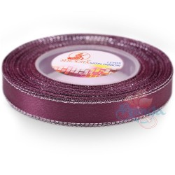 12mm Senorita Silver Edge Satin Ribbon - Plum A38s