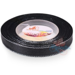 12mm Senorita Silver Edge Satin Ribbon - Black Silver Blks