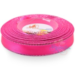 12mm Senorita Silver Edge Satin Ribbon - Fluorescent Pink F106s