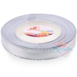 12mm Senorita Silver Edge Satin Ribbon - White Silver ws