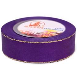 24mm Senorita Gold Edge Satin Ribbon - Purple 014G