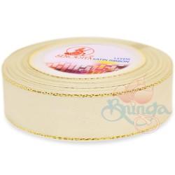 24mm Senorita Gold Edge Satin Ribbon - Ivory 01G