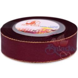 24mm Senorita Gold Edge Satin Ribbon - Maroon 028G