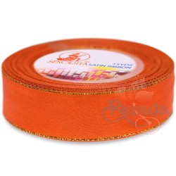 24mm Senorita Gold Edge Satin Ribbon - Dark Orange 116G