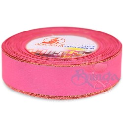24mm Senorita Gold Edge Satin Ribbon - Deep Pink 13G