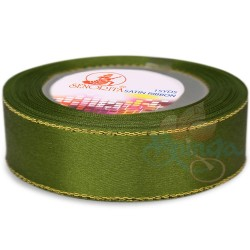 24mm Senorita Gold Edge Satin Ribbon - Olive Green 208G