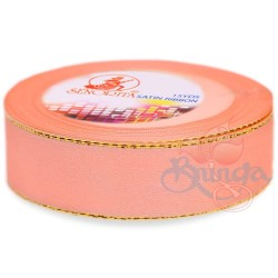 24mm Senorita Gold Edge Satin Ribbon - Light Peach 228G