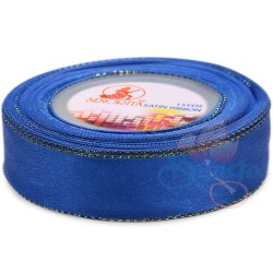24mm Senorita Gold Edge Satin Ribbon - Electric Blue 25G