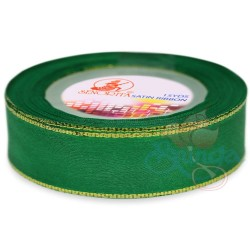 24mm Senorita Gold Edge Satin Ribbon - Forest 26G