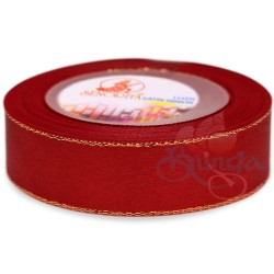 24mm Senorita Gold Edge Satin Ribbon - Red 28G
