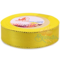 24mm Senorita Gold Edge Satin Ribbon - Yellow 3G