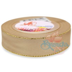 24mm Senorita Gold Edge Satin Ribbon - Light Tortilla 52G