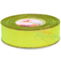 24mm Senorita Gold Edge Satin Ribbon - Grass Green 535G