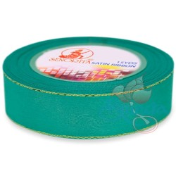 24mm Senorita Gold Edge Satin Ribbon - Tiffany Blue 548G