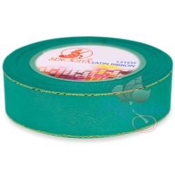 24mm Senorita Gold Edge Satin Ribbon - Tiffany Blue 548G