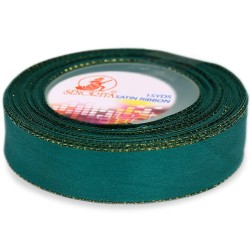 24mm Senorita Gold Edge Satin Ribbon - Teal 549G