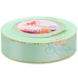 24mm Senorita Gold Edge Satin Ribbon - Light Aqua 801G