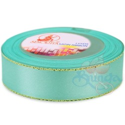 24mm Senorita Gold Edge Satin Ribbon - Light Turquoise 802G