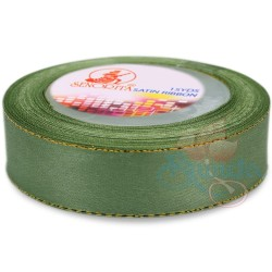 24mm Senorita Gold Edge Satin Ribbon - Sea Green 803G
