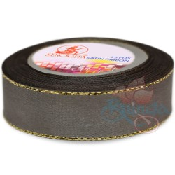24mm Senorita Gold Edge Satin Ribbon - Metal Grey 805G