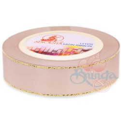 24mm Senorita Gold Edge Satin Ribbon - Pink Beige 806G